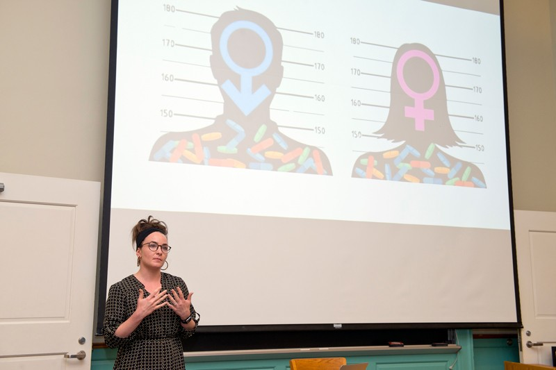 Ginnie Sawyer Morris, a doctoral student in human development and family sciences, talks about her study of gender differences in recovery from addiction during the final presentations of the University of Delaware's Words For Nerds program.