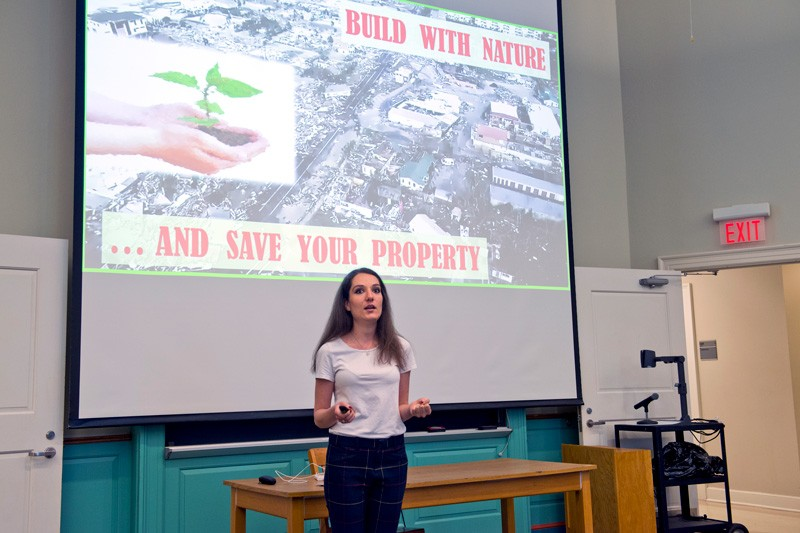 Doctoral student Maro Pontiki explains her research in coastal engineering and the ways plants can minimize damage from storms during the final presentations of the University of Delaware's Words For Nerds program.