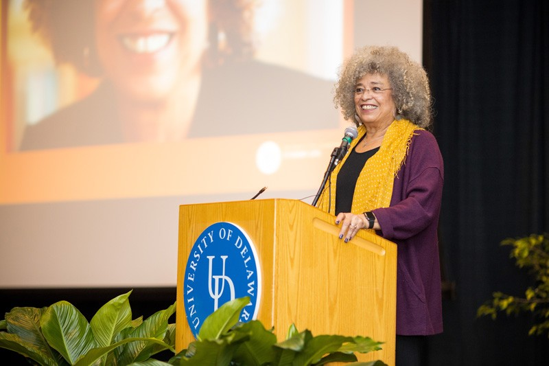 Angela Davis, a scholar, author and activist, spoke to a full house in the Trabant University Center at the University of Delaware as part of her keynote lecture for the annual Black History Month Extravaganza on Feb 21.