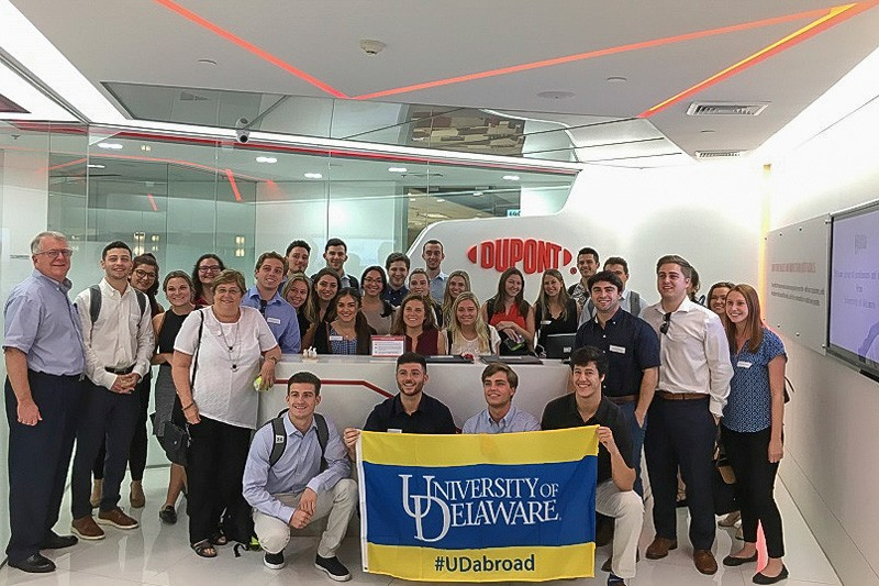 University of Delaware students in a business-oriented study abroad program met with DuPont executives in the company's office in Bangkok, Thailand.