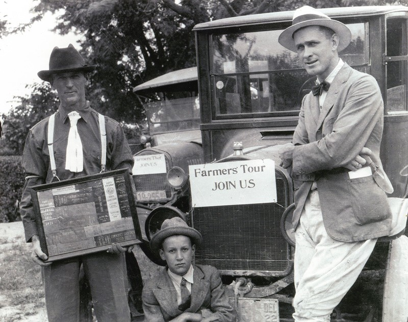 From left to right: Farmer Norval Petter, his son D. Gooden Pepper and UD Sussex County Agent Molloy Vaughn prepare for a Farmers Tour in 1922.