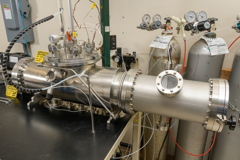 This is the vapor transport deposition system designed and built at UD's Institute of Energy Conversion to improve efficiency and lower costs of thin-film photovoltaics.