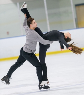 UD junior Alannah Binotto practices one of her routines for the 2019 US Figure Skating Championships with her ice dance partner Shiloh Judd.