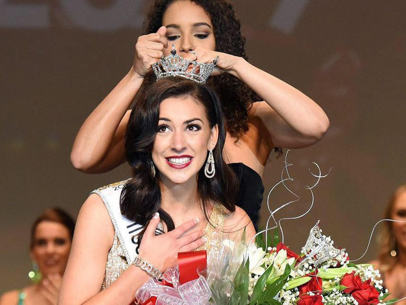 UD doctoral student Hillary May is crowned as Miss Delaware 2019 at Cape Henlopen High in Lewes.