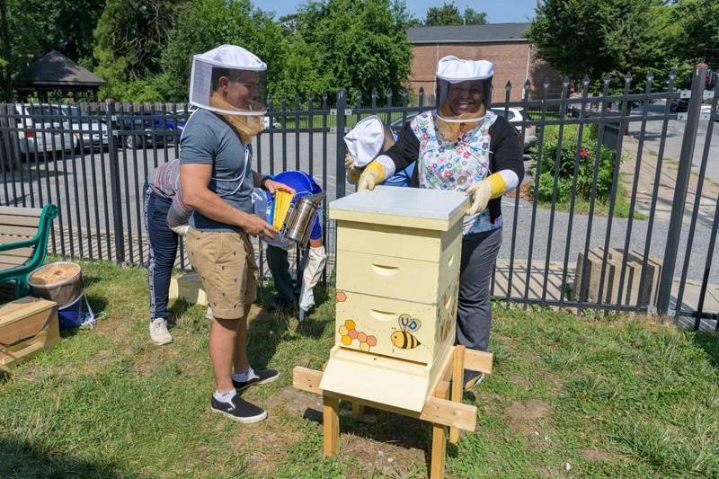 Nicholas Matt (left) stands by with a hand-held smoker, used to calm and disperse bees if needed, as fellow student Ifunanya Ugorji prepares to lift the lid from the hive.