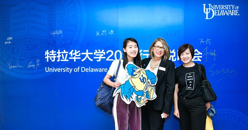 Karen Asenavage, associate director, director of academic programs, English Language Institute (center) was on hand in Beijing and Shanghai pre-departure orientation events to connect with Academic Transitions students and their families.