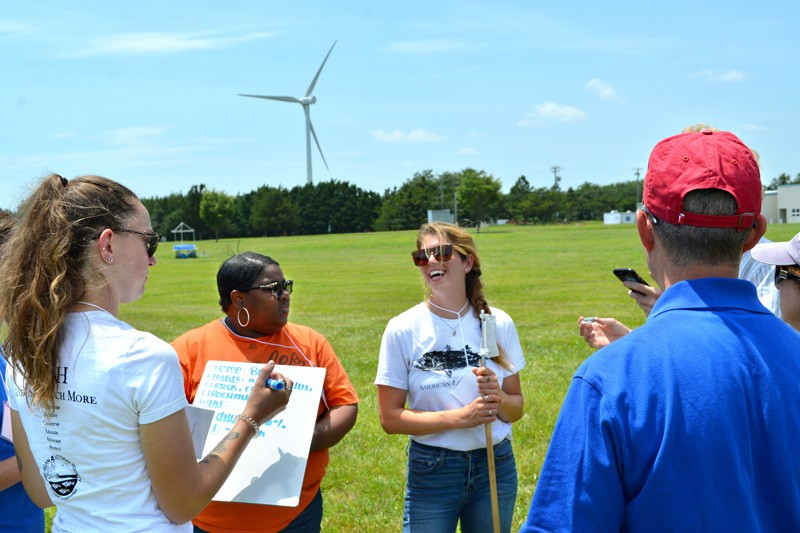 Teachers from four states practiced taking weather measurements on UD's Lewes campus during a three-day Climate Academy run by Delaware Sea Grant.