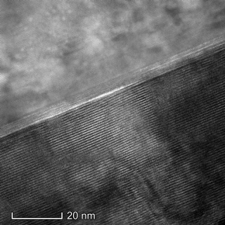 This image, captured with a transmission electron microscope (TEM) in UD's Keck Center for Advanced Microscopy and Microanalysis, shows the atom-by-atom layers of the topological insulators studied by University of Delaware researcher Stephanie Law.
