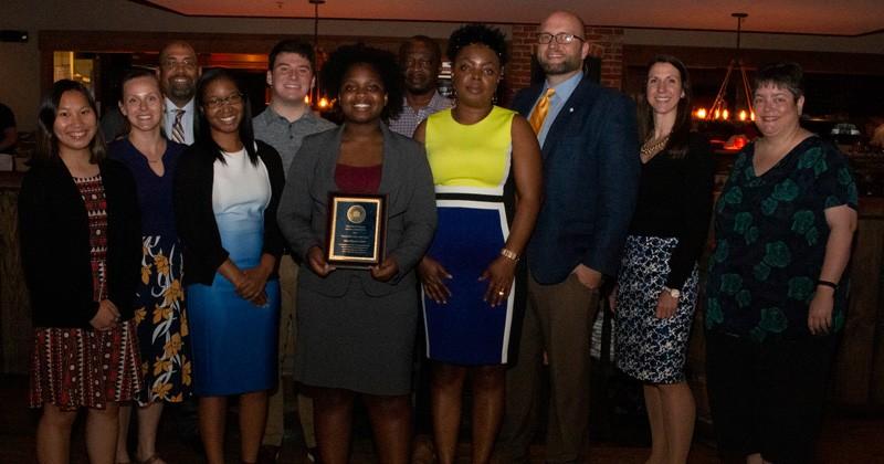 Nana Ohemaa Asante accepts 2019 University of Delaware Seitz Award from Student Life