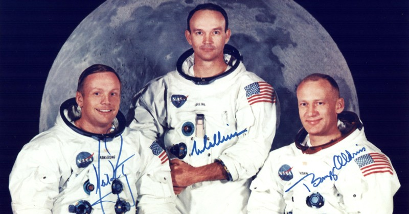 Official crew photo of the Apollo 11 crew. From left to right are astronauts Neil A. Armstrong, Commander; Michael Collins, Command Module Pilot; and Edwin E. Aldrin Jr., Lunar Module Pilot.