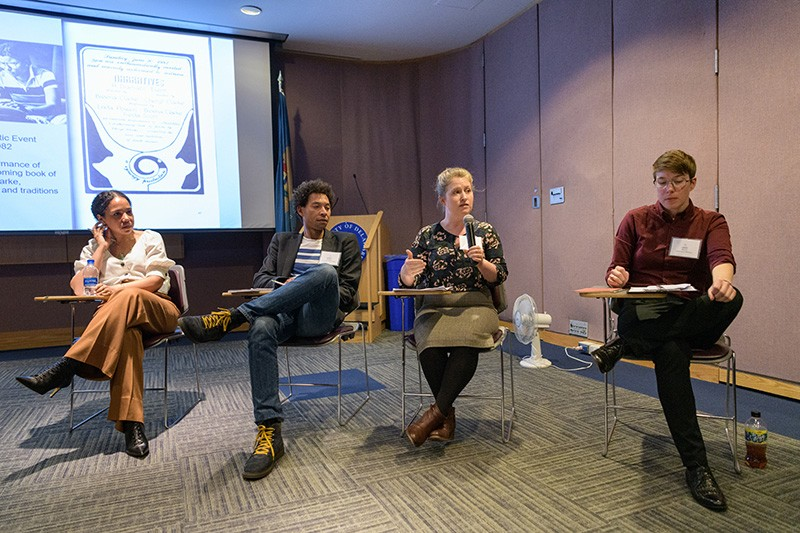 "During the symposium entitled, ""Black Bibliographia: Print/Culture/Art,"" a panel discussion included (left to right) Autumn Womack from Princeton University, Korey Garibaldi from University of Notre Dame, Emily Kader from University of North Carolina and Heidi Morse from University of Michigan."