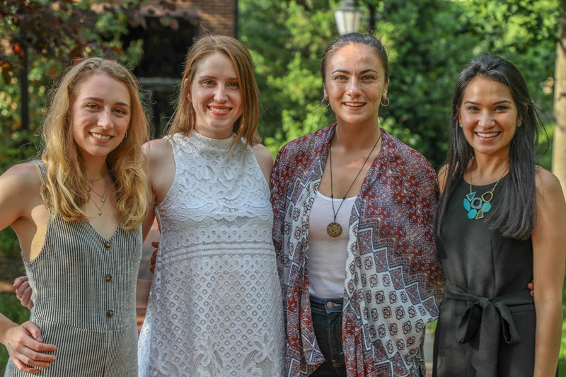 UD's newest Fulbright winners will travel abroad to Andorra, Brazil, Georgia, the Netherlands and Romania. Among them are, left to right, are Megan Pacitti, Mackenzie Campbell, Natalie Medlock and Julianna Ly.