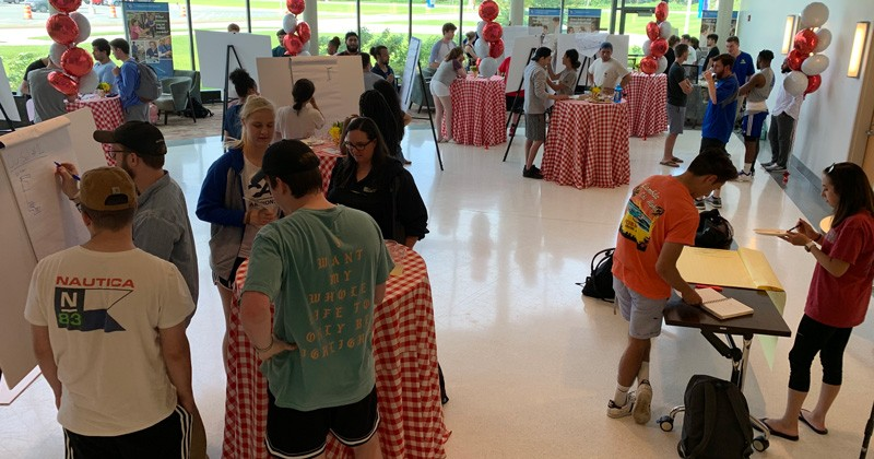 The inaugural Brainstorm-a-Palooza brought together 67 students in 17 teams from majors across campus to help come up with new ideas to help UD Football players.