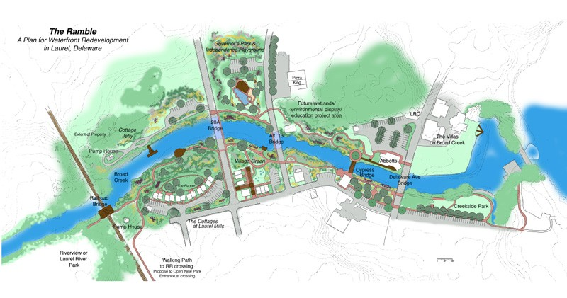 "UD landscape architecture professor Jules Bruck created plans for ""The Ramble"" — a major waterfront redevelopment undertaking on Broad Creek in Laurel, Delaware."