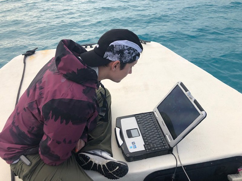 UD doctoral degree candidate Stephanie Dohner monitoring the AUV status during B-24 search mission.