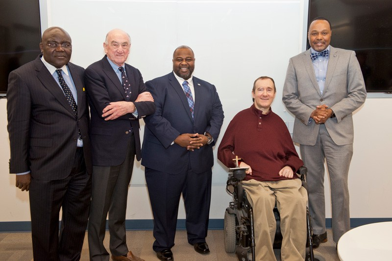 Pictured, from left to right: Nii O. Attoh-Okine, interim academic director of UD's Cybersecurity Initiative; David Weir, founding director of the Office of Economic Innovation and Partnerships (OEIP); Solomon Adote, Chief Security Officer of the State of Delaware; Ken Barner, Charles Black Evans Professor and chair of the Department of Electrical and Computer Engineering; James Collins, Chief Information Officer of the State of Delaware.