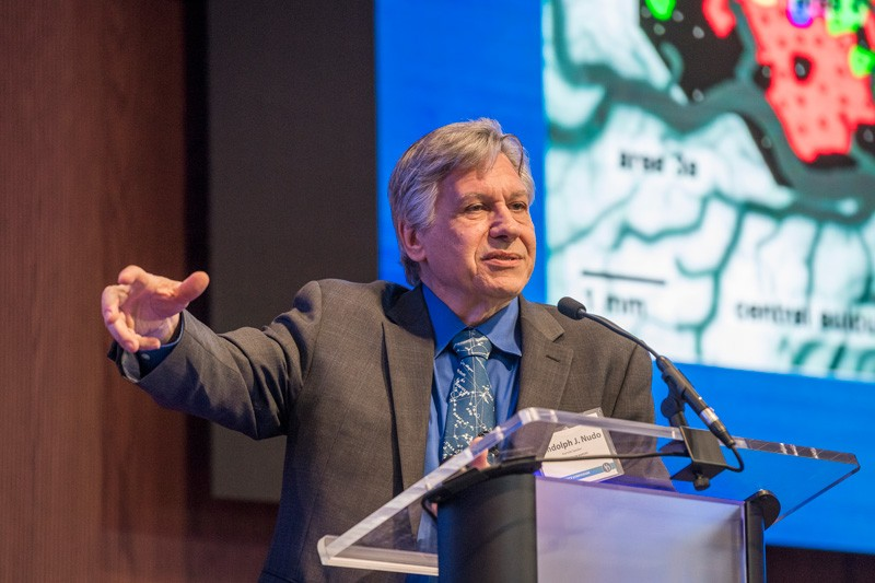 Prof. Randolph Nudo, a leading authority in brain plasticity and recovery after stroke at the University of Kansas Medical Center, speaks at UD's Neuroscience Symposium at the STAR Tower.