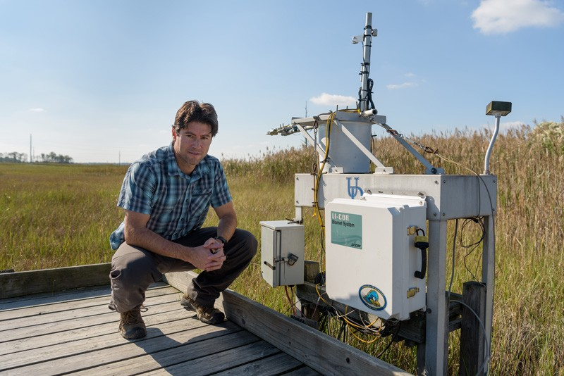 UD Associate Professor Rodrigo Vargas, seen here at the St. Jones Reserve in Delaware, has worked extensively on research related to the carbon cycle.