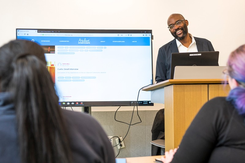 Curtis Small, senior assistant librarian and coordinator of public services, session at the Route 9 Library and Innovation Center in New Castle focused on oral histories using the StoryCorps app.