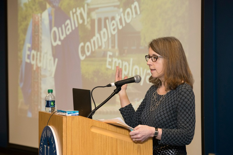 Jillian Kinzie, associate director at the Center for Postsecondary Research and the National Survey of Student Engagement Institute at Indiana University School of Education, emphasized the importance of an integrated framework for student success in her keynote talk at the UD Student Success Conference.