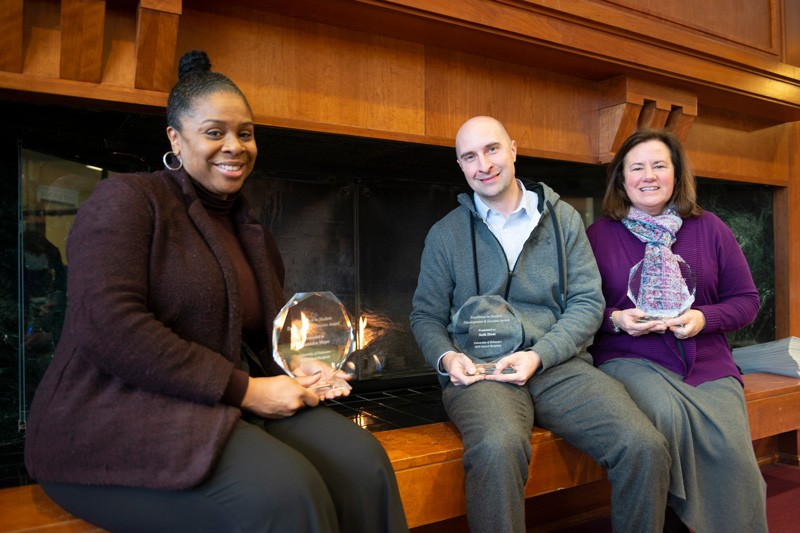 Kasandra Moye, director of the Center for Black Culture; Seth Hunt, preceptor in the Interdisciplinary Science Learning Labs; and Jama Allegretto-Lynch, associate director of the Honors Program were honored with the Excellence in Student Development and Success Award.