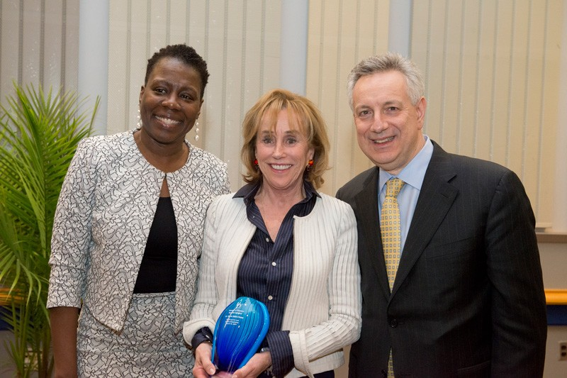 Gathering at the 2019 Women of Promise Dinner were, left to right, UD Vice Provost for Diversity Carol Henderson; keynote speaker Valerie Biden Owens, vice chair of the Biden Institute at UD's Joseph R. Biden, Jr. School of Public Policy and Administration; and UD President Dennis Assanis.