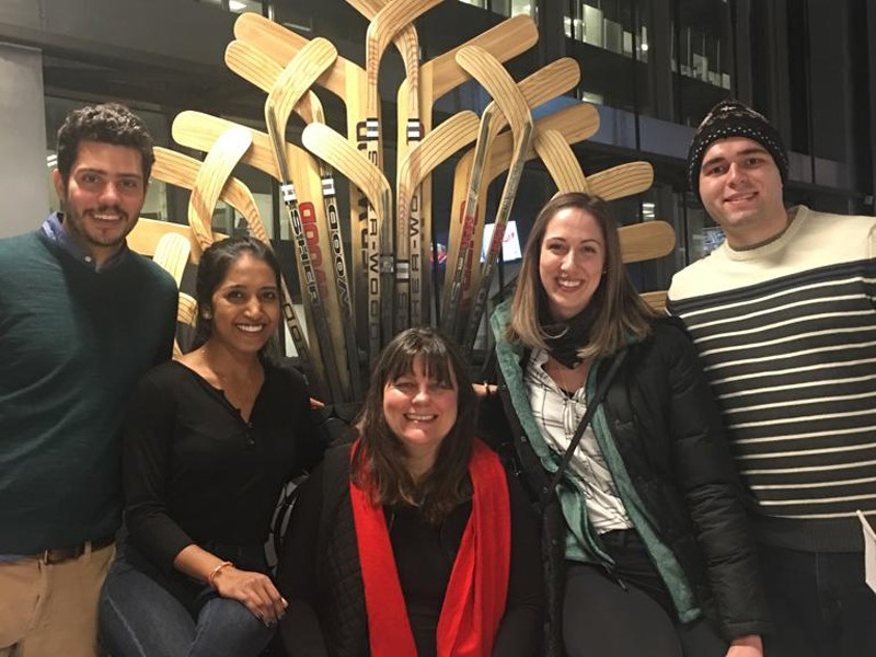 UD's MBA Molson Case Competition Team — left to right, Bruce Wayne, SaiSri Gajjala, coach Katalin Takacs Haynes, Sarah Meadows and Tim Huffman — take a brief break from preparing for the competition to explore Montreal.