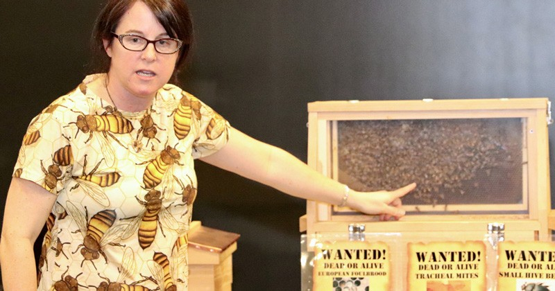 Associate professor of entomology Debbie Delaney helps students get into costume for the Busy Bee Pollen Game that promotes an understanding of pollination in an engaging activity for kids.