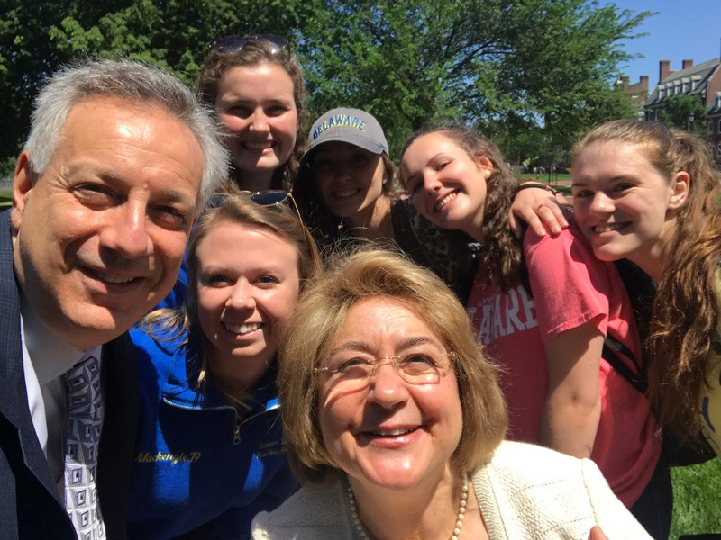 UD President Dennis Assanis and Eleni Assanis join students on the Green during I Heart UD Giving Day on May 15, 2019.