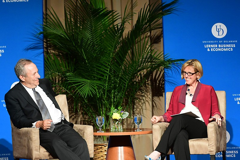 Former U.S. Treasury Secretary Lawrence Summers (left) shared his economic views during the 2019 Hutchinson Lecture at UD and during a question-and-answer session moderated by Sarah Bianchi (right) of the Biden Institute.