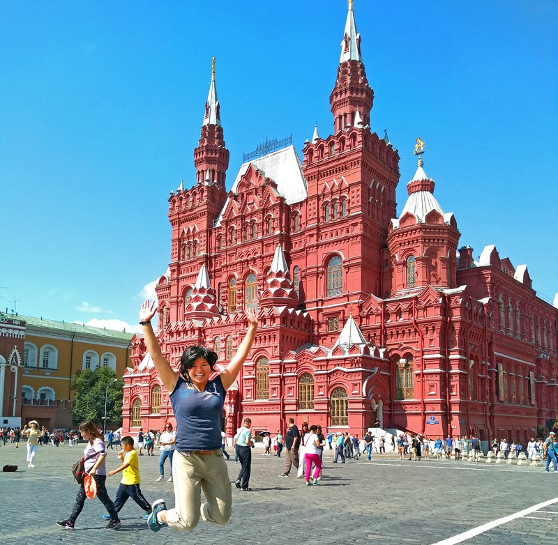 During her Critical Language Scholarship, UD student Rebecca King enhanced her language skills and explored Russia's history, culture and industry through many excursions, including this one to Moscow's Red Square.