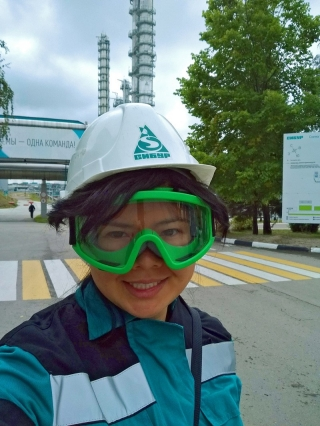UD student Rebecca King toured one of Russia's petroleum processing factories. The country's petroleum industry is one of the largest in the world.