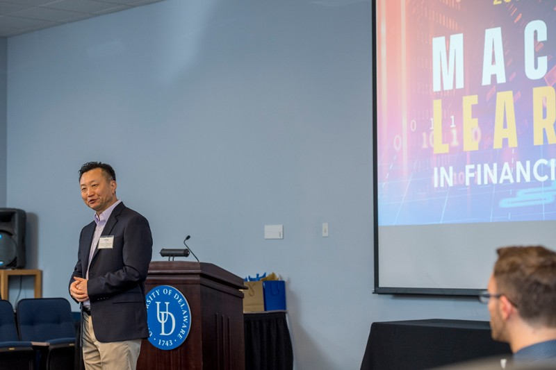 "UD Prof. Bintong Chen introduces the first speaker during the ""Machine Learning in Financial Services"" conference, hosted by Lerner College and its Institute for Financial Services Analytics (IFSA) at Clayton Hall."