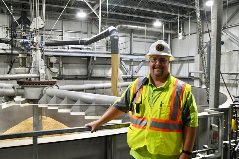 Proximity Malt's Matt Musial stands in front of the steeping tank, where a new load of barley will begin the first stage of the malting process