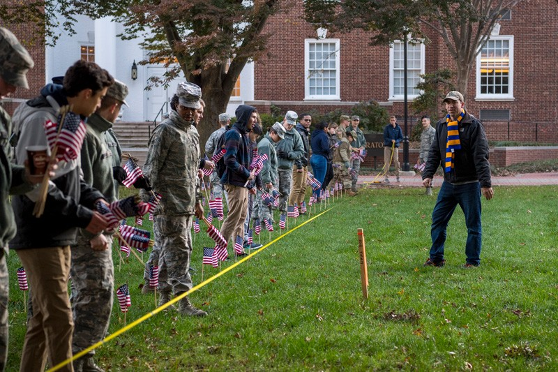 ROTC members and other students began planting flags on the North Green on early on Tuesday, Nov. 5 in advance of Veterans Day.