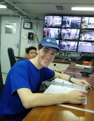 UD student Paul Ernst aboard Xiamen University's research vessel, the R/V Tan Kah Kee.