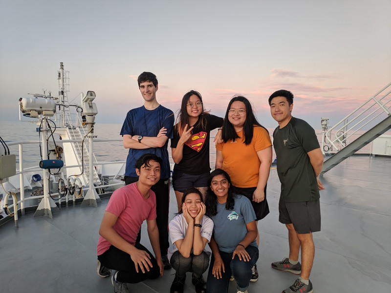 UD students Rucha Wani (first row, far right) and Paul Ernst (back row, far left) were chosen as the first UD students to take part in an excursion to Xiamen University in China as well as Xiamen University's Malaysia campus. The two students also got to spend time aboard Xiamen University's research vessel, the R/V Tan Kah Kee, traversing the South China Sea.