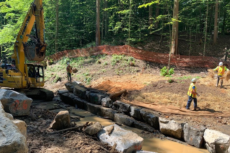 As part of her summer internship with Wetland Studies and Solutions, Inc., UD undergraduate Jordan Dobak participated in a diverse group of projects, such as construction oversight of a modified cross vane at an active stream restoration site.