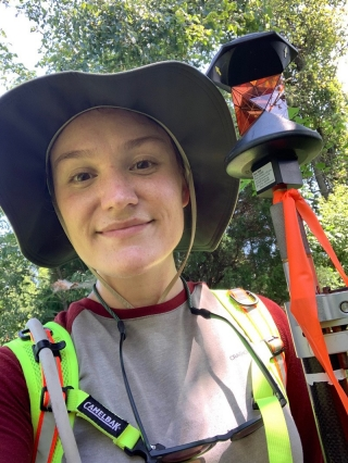 UD undergraduate Jordan Dobak learned all sorts of skills this summer during her internship with Wetland Studies and Solutions, Inc. During her work with the survey department, she learned all about surveying including how to use a prism.