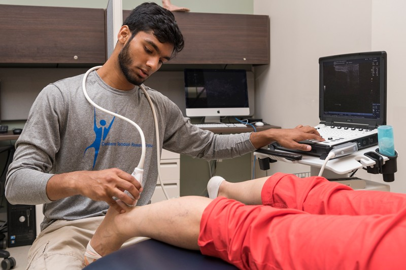 University of Delaware senior Arif Peracha, a biomedical engineering major, spent the summer studying the Achilles tendon in the Muscle and Tendon Performance Lab of Karin Silbernagel, associate professor of physical therapy. He used ultrasound and other methods to collect and analyze data about the health and strength of the tendon.