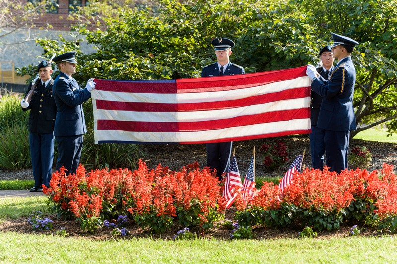 The University of Delaware Air Force ROTC joined other UD and community members in 2017 in honoring the lives of those who died on Sept. 11, 2001 and first responders who saved thousands of people.