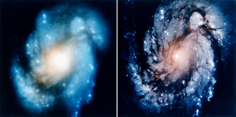 This comparison image of the core of the galaxy M100 shows the dramatic improvement in Hubble Space Telescope's view of the universe after the first Hubble Servicing Mission in December 1993. The left image of spiral galaxy M100 is a view from Hubble's original WFPC-1 camera in wide-field mode on Nov. 27, 1993, just a few days prior to the STS-61 servicing mission. The image on the right, taken Dec. 31, 1993, was from the Wide Field and Planetary Camera (WFPC-2) installed during the servicing mission. The newer image demonstrated that the corrective optics compensated fully for the aberration in Hubble's primary mirror, allowing the telescope for the first time to cleanly resolve faint structures as small as 30 light-years across in a galaxy tens of millions of light-years away.