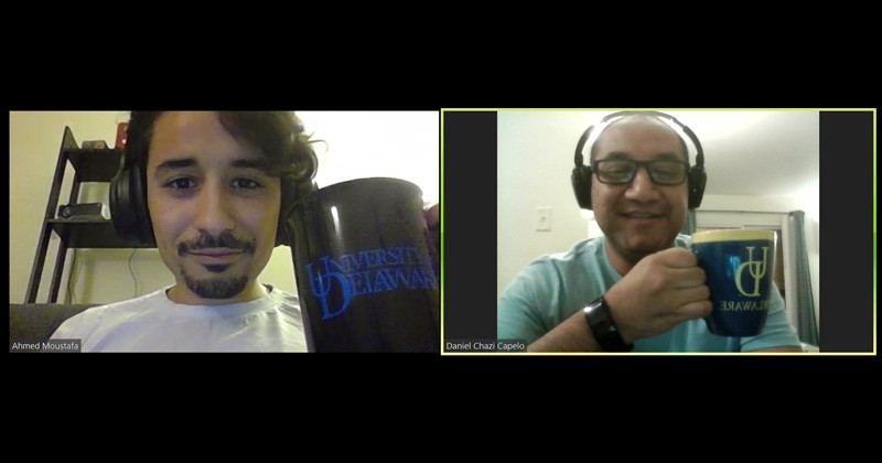 Screen shots of a recent International Zoom Hour show UD students Ahmed Moustafa (left) and Daniel Chazi Capelo.