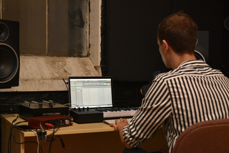 Samuel Goetz, a mechanical engineering student at UD, said his time as president of the Music Production Club has taught him troubleshooting and leadership skills that are applicable in engineering. Here, he mixes vocals with audio effects.