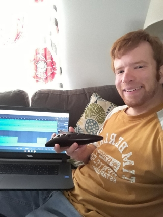 Daniel Loughlin, a member of UD's Music Production Club, works on a soundtrack for an animated, independent film at his home in Dover, Delaware.