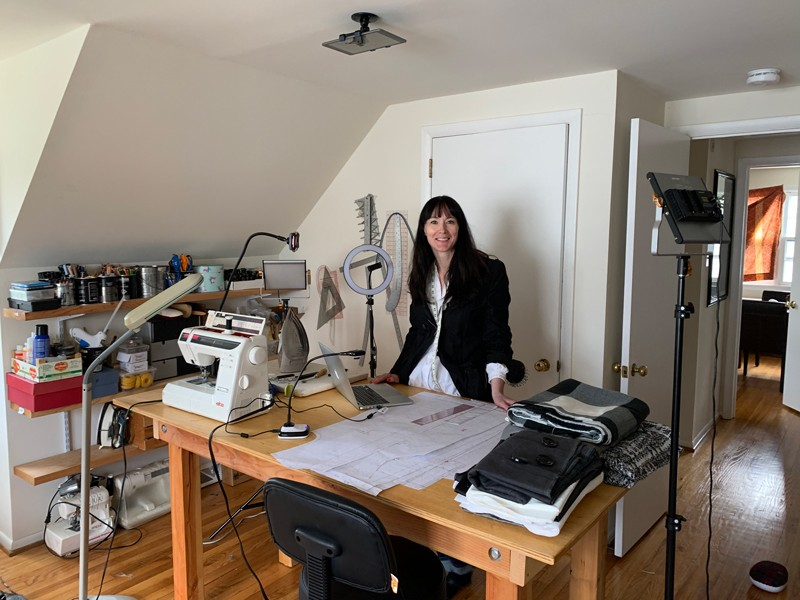 "University of Delaware Instructor Katya Roelse set up a small home studio for her course called, ""Apparel Design by Flat Pattern,"" where she can record demonstrations and possibly hold them live. The course is a highly technical one where students need to design, pattern and sew a tailored jacket."