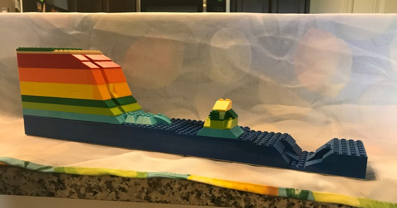 As part of his on-line oceanography merit badge program offering for the Boy Scouts of America, David Christopher, Delaware Sea Grant's marine education specialist, created a homemade seafloor topographical model out of Legos to explain the seafloor to merit badge participants.