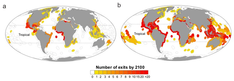 The number of species shifting out of each exclusive economic zone (EEZ) by 2100 under a moderate (left) and more severe (right) greenhouse gas emissions scenario.