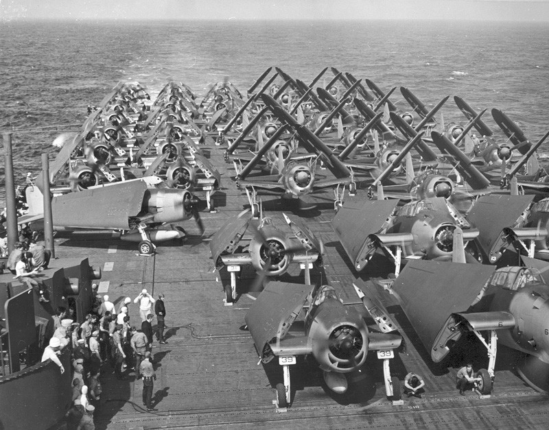 U.S. Avengers, Hellcats, and SBD Dauntless aircraft aboard the USS Intrepid, 1944.