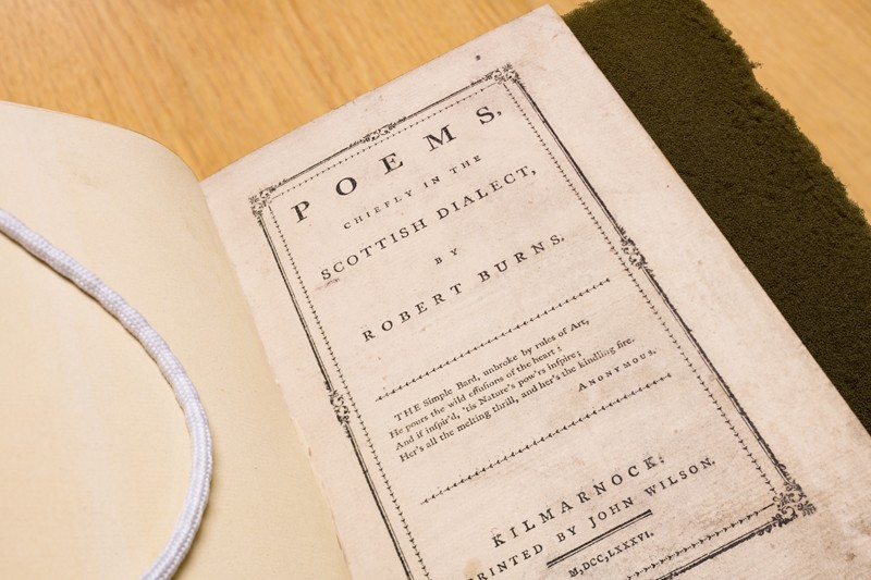UD's Morris Library is home to a first-edition copy of the first book written by Scottish poet Robert Burns. An artifact of the 1780s, it is one of only 84 known copies remaining in the world.